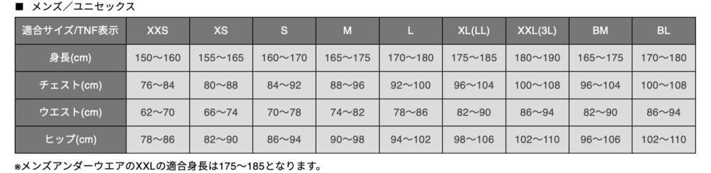 ノースフェイスダウンジャケットサイズ表